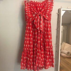 Strapless floral flow dress